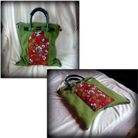 Zöld-piros virágos táska, Táska, Ruha, divat, cipő, Szatyor, Válltáska, oldaltáska, Meska