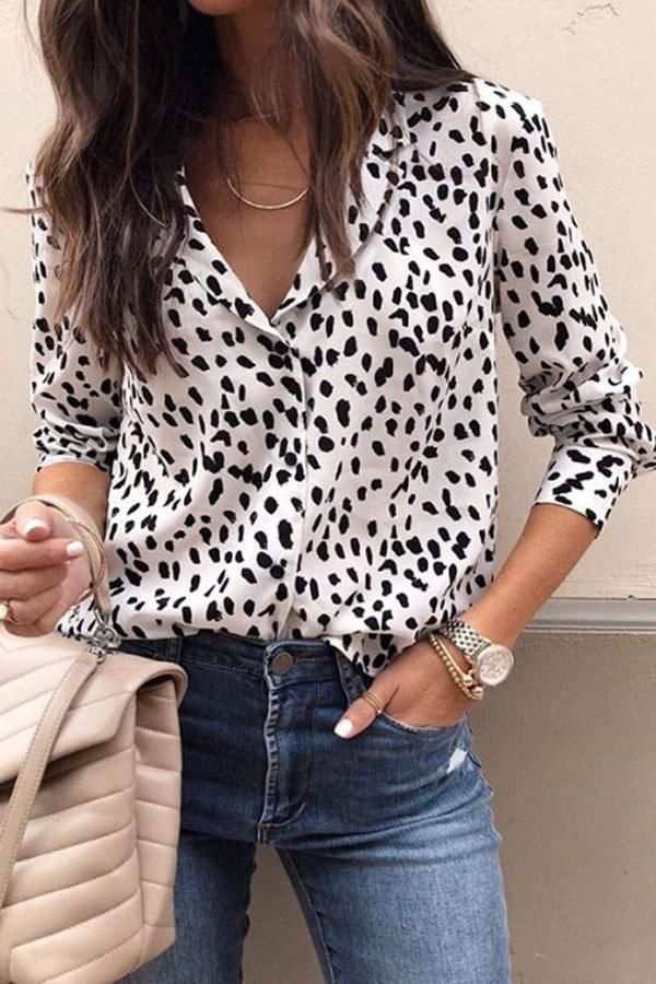 Turn Down Collar Leopard Blouses