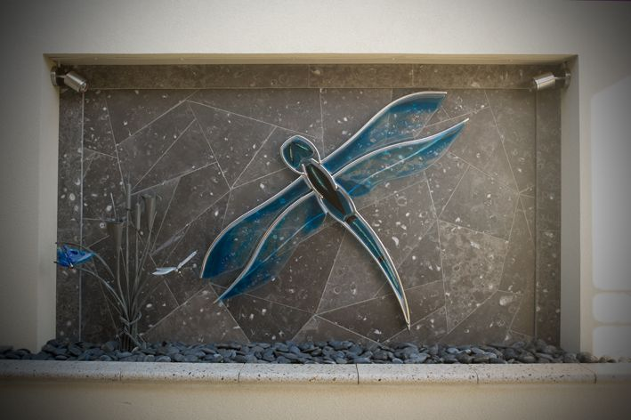 glass dragon fly, feature wall by Tavoli Designs