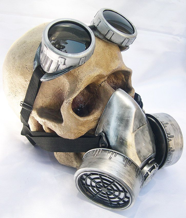 2 pc. set of Silver/Pewter-Look Distressed  Steampunk Double Filter Respirator GAS MASK and Matching GOGGLES. $67.50, via Etsy.