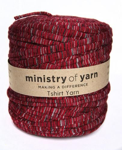 Burgundy Stripes Oddball T-shirt Yarn by Ministry of Yarn