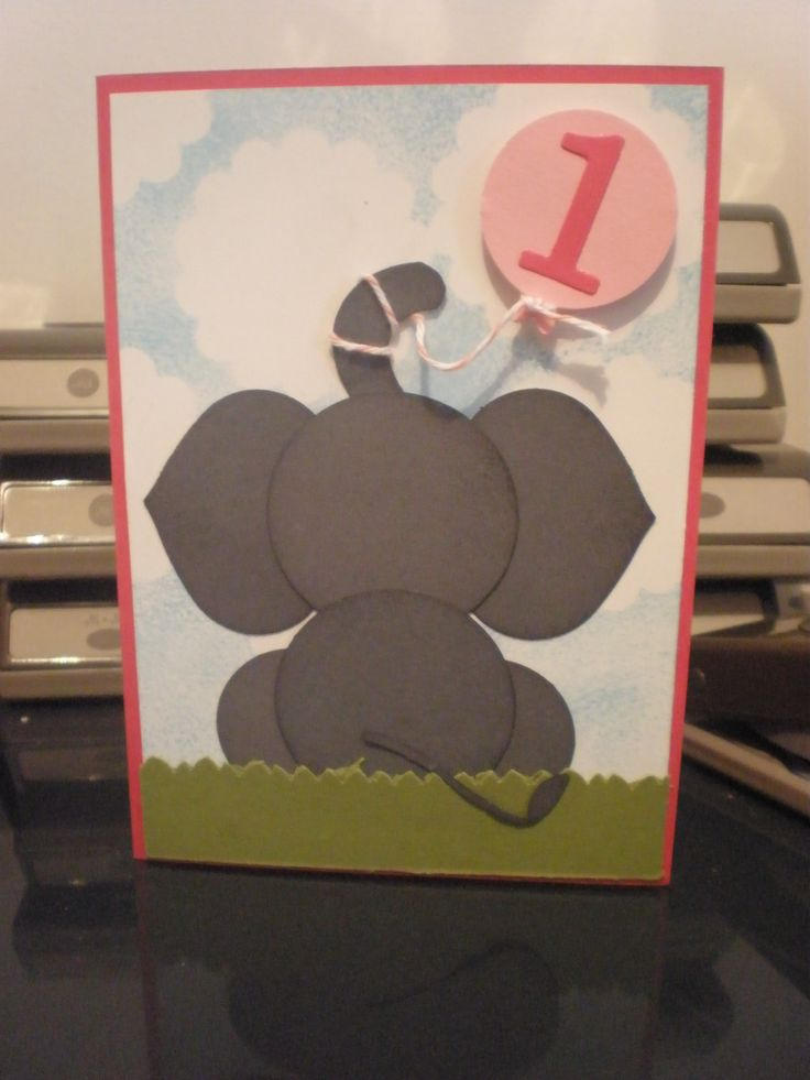 Stampin Up Punch art Elephant 1st birthday