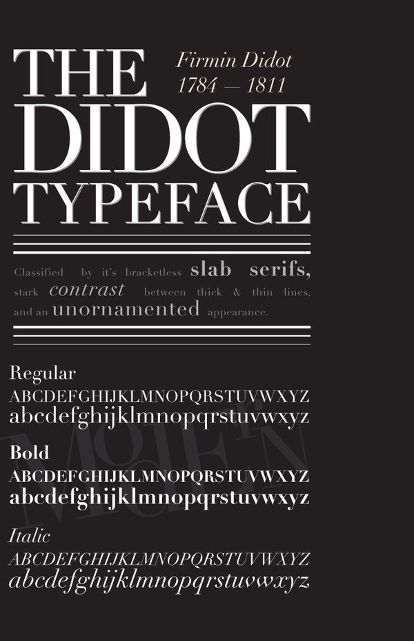 type specimen sheet for the Didot typeface by Cori Angen via Behance