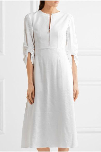 Tibi - Marta Ruched Linen-blend Midi Dress - Ivory - US12
