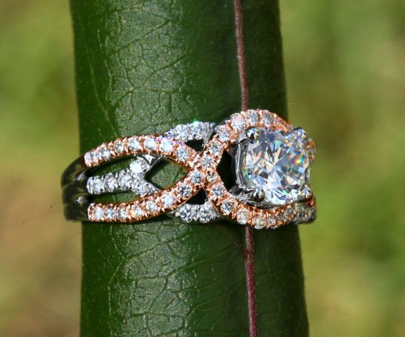 TWIST OF FATE - 14k White and yellow or rose gold - Diamond Engagement Ring - Halo - Unique - Swirl - Pave - Bp024 on Etsy, $6,700.00