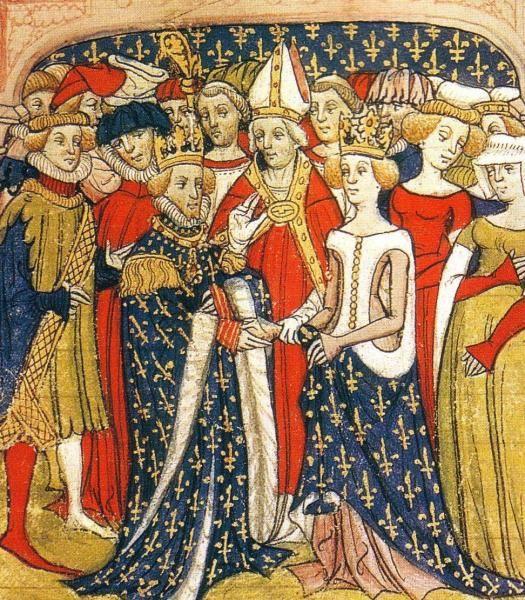 Mariage de Marie de Brabant et du roi Philippe III de France . Manuscrit des Chroniques de France