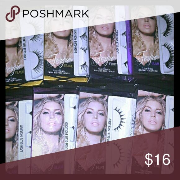 Fergie Fringe Signture Faux Eyelashes 9 Pairs of Fergie Fringe Signture Faux Eyelashes. Each pair comes with eyelash glue. You will receive the following:  * 3 Glam * 3 Flirt * 3 Tease Fergie Makeup False Eyelashes