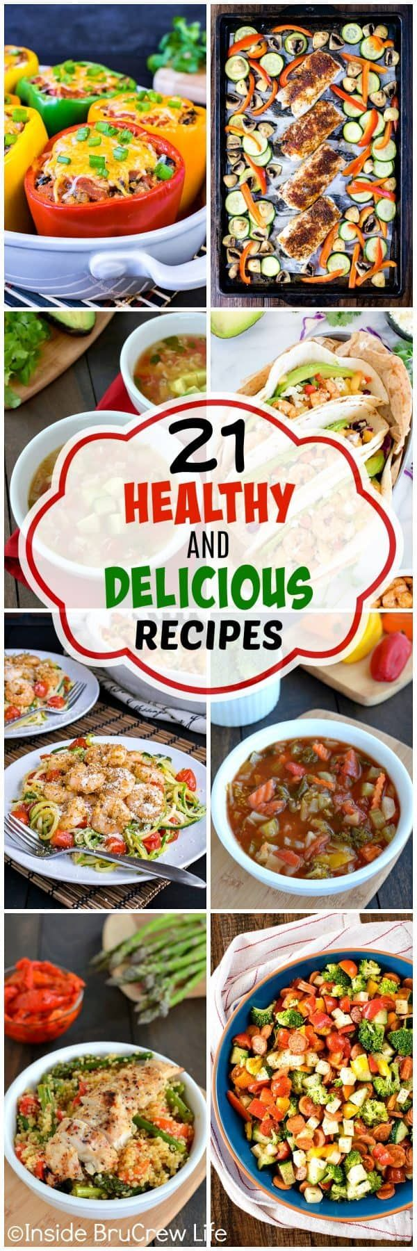 21 Healthy and Delicious Recipes - plan a month of meals using these easy and healthy recipes. Easy recipes to help you with your health journey! #healthy #recipes #newyear #leanandgreen #healthyeats #dinners #healthydinner