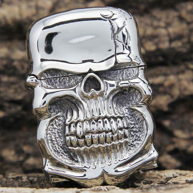 Japanese Handicraft Master Tibetan Silver Demon Skull Zippo Lighter   www.kingzendo.com