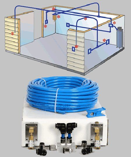Compressed air hose garage plumbing