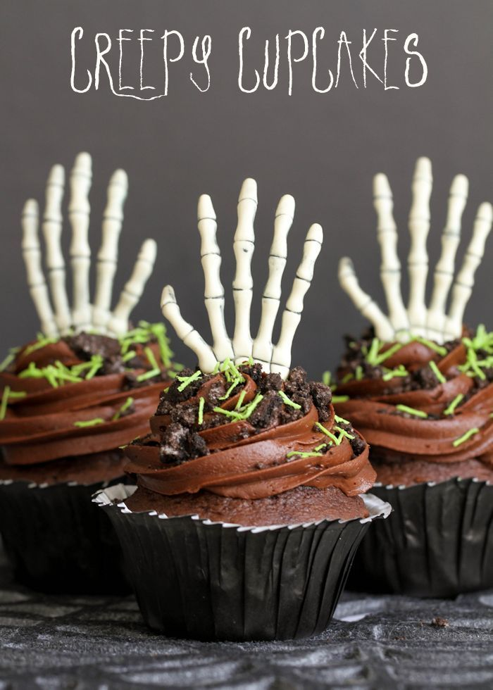Super Delicious and Creepy Cupcakes with doctored Cake Mix and Homemade Chocolate Buttercream Frosting!