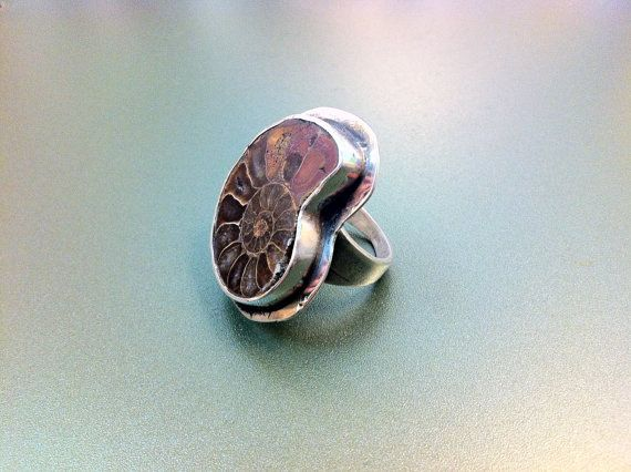 Real amonnite fossil silver ring by ArchipelagosBreeze on Etsy, €78.00
