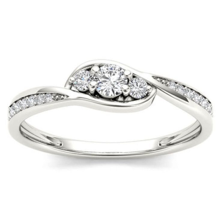 Awesome 10k White Gold  0.07ct  Engagement Wedding Women Beautiful Ring. #GoldJewellery17 #Simulated