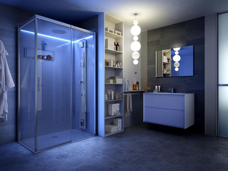 The perimeter mood lighting of Reloaded  #shower cabin lights up this modern #bathroom during the night or if you want to create a special lighting effect ! #design #bathroom