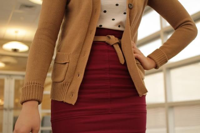 cranberry skirt, camel cardigan, polka dot top More