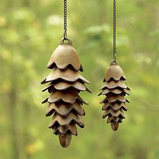 Pinecone Windchimes    Slabs cut in small wavy circles and molded around dishes.    Just add a hole in the middle of the slab and assemble with fishing line after firing.    Easy as pie and cute as a button!