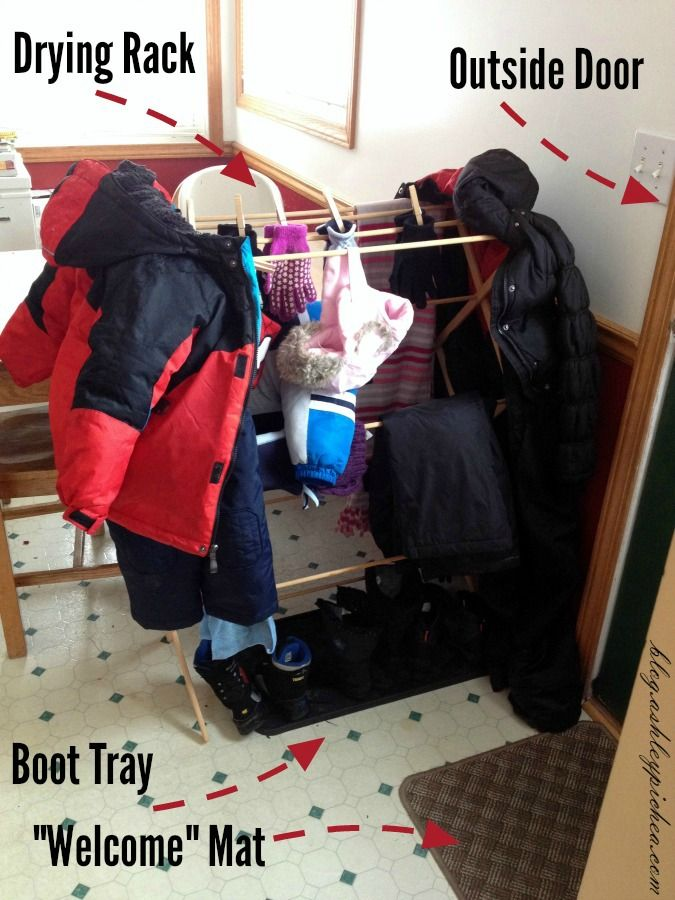 We had our first snowfall of the year last week, and the kids were all anxious to get outside to play in the snow. After they went outside, I realized that I didn't have a winter gear drying station.  See how I created a WINTER GEAR DRYING STATION in my kitchen: http://blog.ashleypichea.com/creating-a-simple-winter-gear-drying-station/