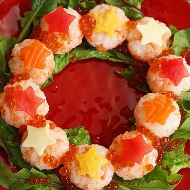 みんなで作ろう!流れ星リースの手まり寿司|くらしプラ酢|ミツカングループ商品・メニューサイト