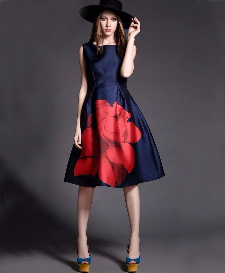 New Blue and Red Floral Print Frock Style Top.