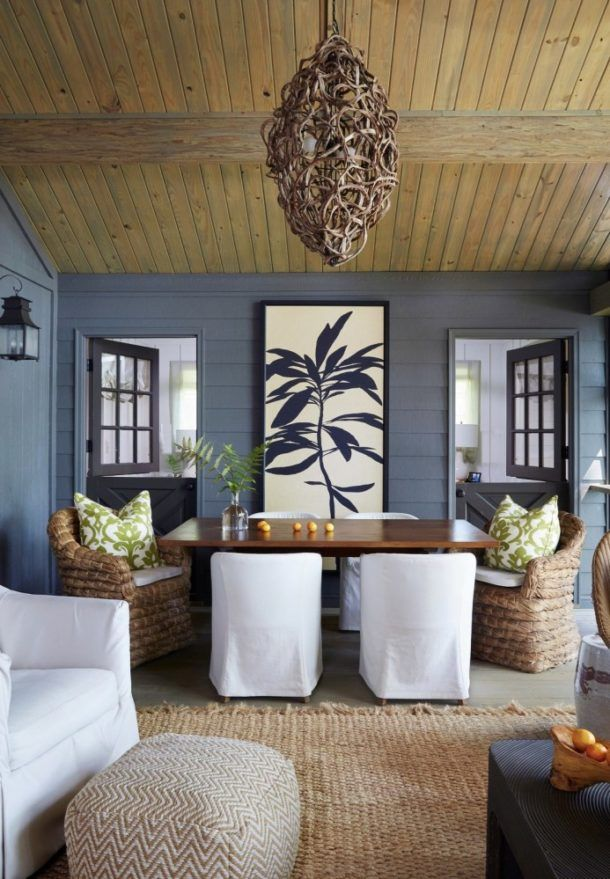 The Rich Timber Tones Of Ceiling Pop Against Blue Grey Walls That Lead Our