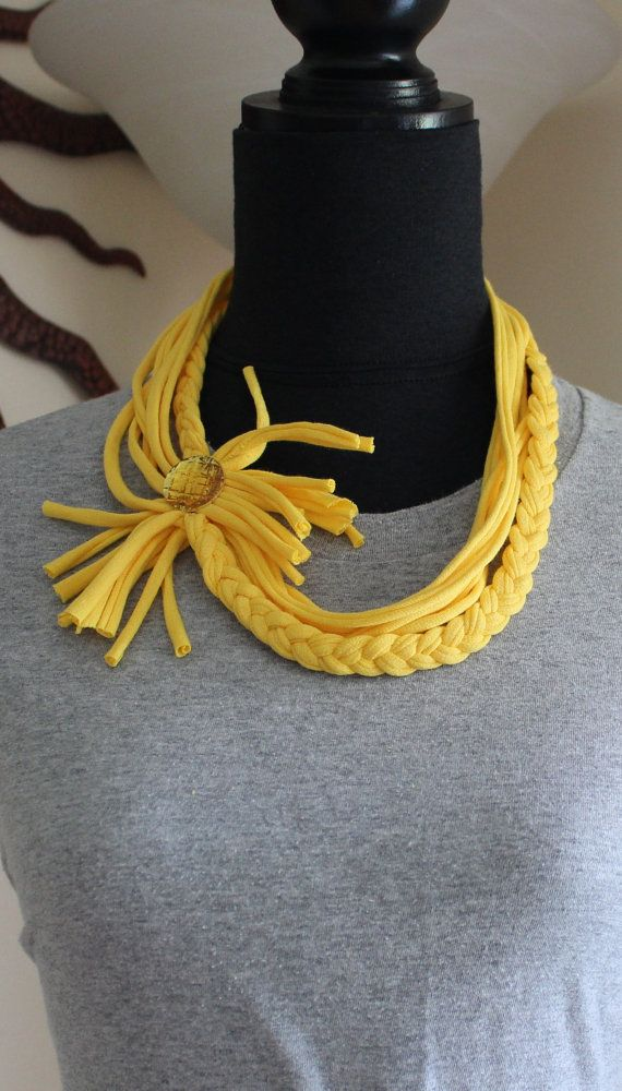 Infinity Scarf, Womens Scarves, Braided Tshirt Scarf, Yellow Scarf with yellow Jewel by KariLynnsKumfortshop, $15.00