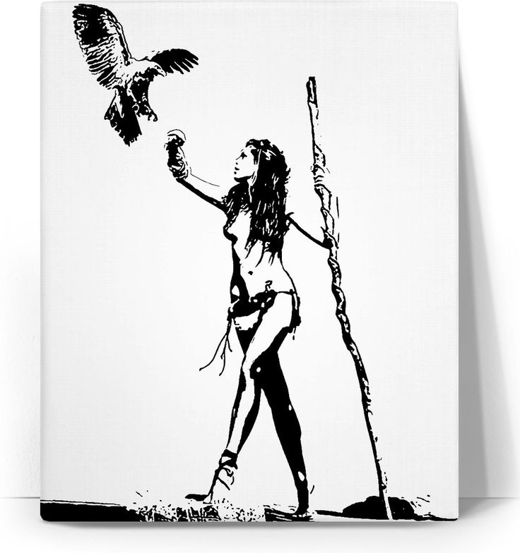 The Falconer - sexy stencil tribal girl artwork, black and white minimalist canvas art print - item printed by www.rageon.com/a/users/casemiroarts - also available at www.casemiroarts.com