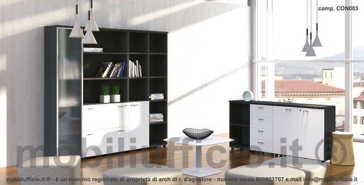 comp. CON003 - coppia #mobili #contenitori per #archivio con altezze diverse.