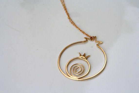 Gold Necklace Gold Chain Pomegranate Necklace by dovisjewlery