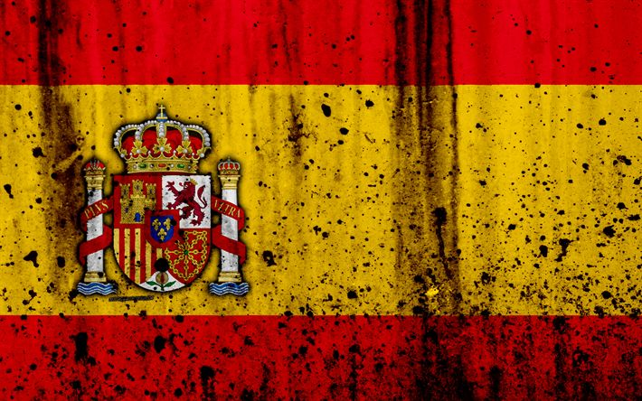 Download wallpapers Spanish flag, 4k, grunge, flag of Spain, Europe, Spain, national symbolism, coat of arms of Spain, Spanish coat of arms