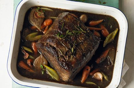 Slow cooked silverside braised with red wine and spring vegetables