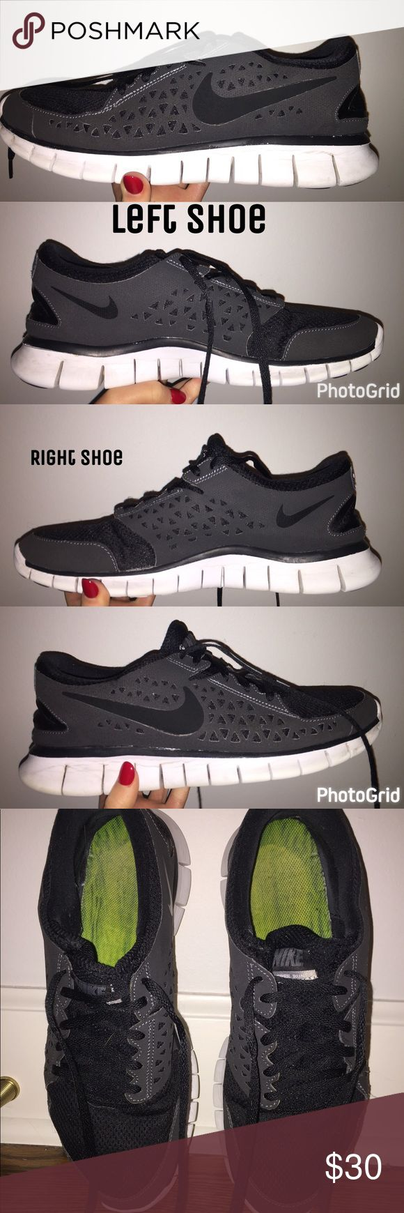 Men's Nike Sneakers Black and white men's Nike tennis shoes!! In great condition!! No tears or stains, just some rocks and discoloration on the soles(might come off with a clorox wipe).  Just washed them in the washing machine. Great shoes :) make an offe
