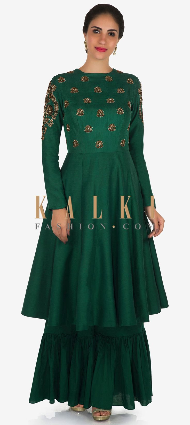 Buy Online from the link below. We ship worldwide Click Anywhere to Tag Green short anarkali top with palazzo in cotton adorn in zardosi butti work only on Kalki  All your brunch looks are covered if you opt for this green palazzo suit. The top in cotton is embellished in zardosi butti embroidery work . The palazzo with gathers is enhanced in cotton. Slight variation in color is possible.