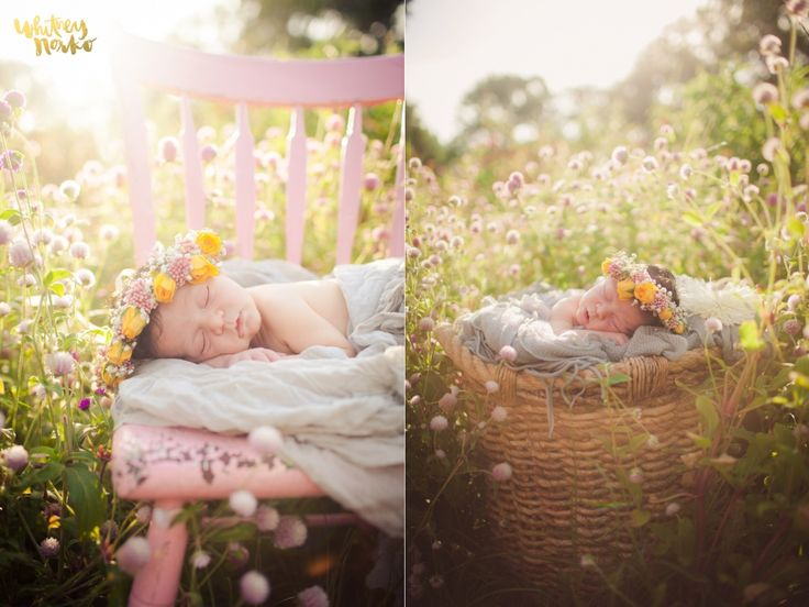 Whimsical baby girl newborn photography organic inspired flower crown outside