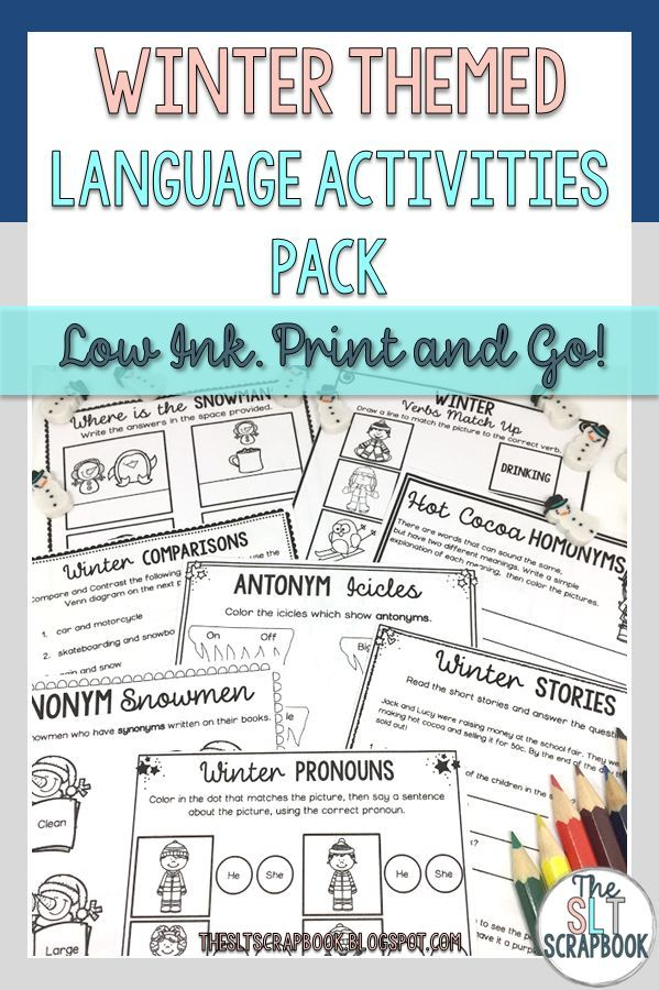 All of your winter themed speech therapy activities are ready to just print and go with this no prep language activities pack! Great for using in speech therapy sessions or sending home as homework!