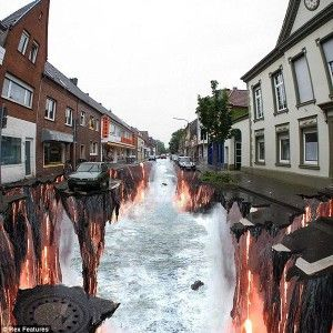 Hot River with Earth Cracking, Lava Burst - 3D Street Art