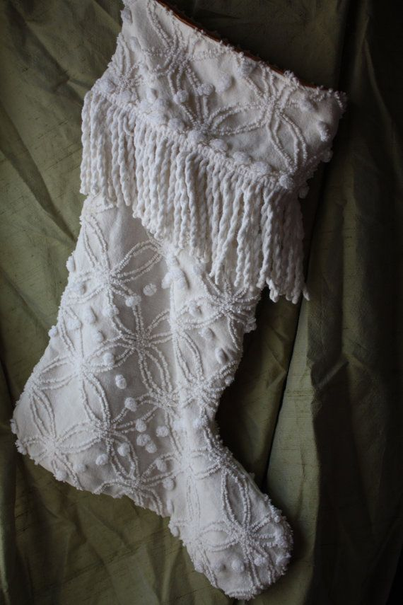 Vintage Chenille Christmas Stocking..Off White, Fringe, Shabby Chic, Up-Cycled Bedspread on Etsy, $32.00