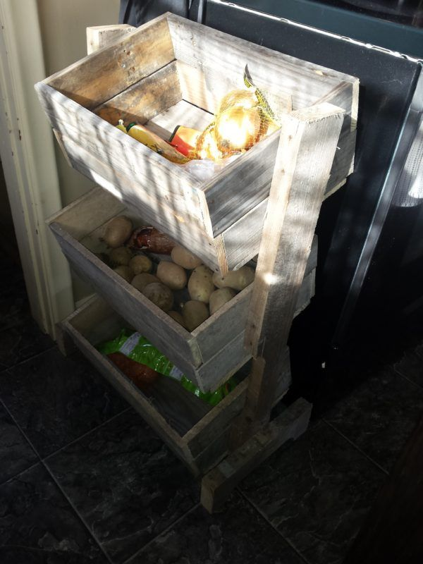 "Here's an excellent idea for extra storage - this Pallet Vegetable Bin! You only need a single pallet to make this, too. I started this project by finding the perfect pallet. I wanted a ""well-weathered"" look. How I made my Pallet Vegetable…"