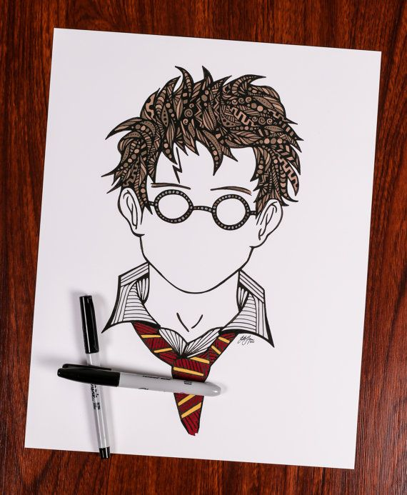 Zentangle Harry you're a wizard by ZenspireDesigns on Etsy