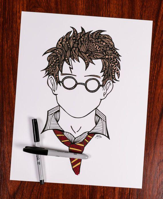 Zentangle Harry you're a wizard by DesignsByBlynn on Etsy