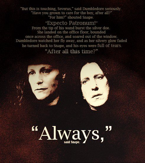 Severus snape is the real hero in Harry potter, keeping him alive for the memory of his love towards Lily.