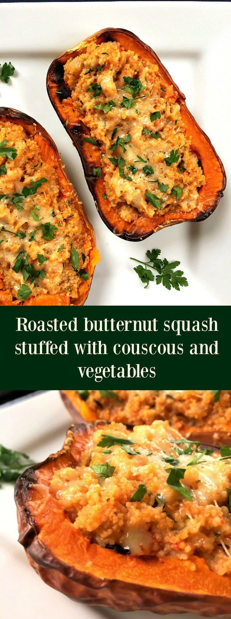 Roasted butternut squash stuffed with couscous and vegetables, a delicious vegetarian dish to impress your guests this Thanksgiving.