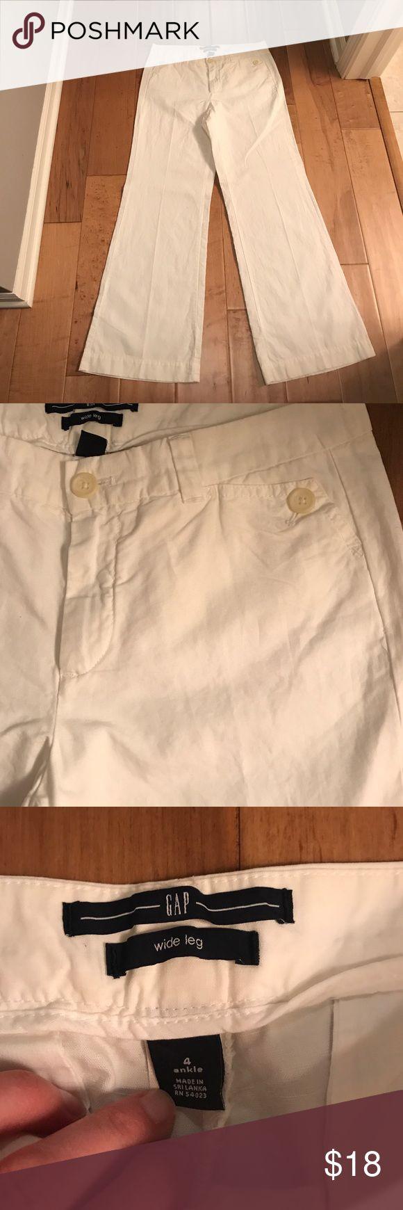 Never Worn White GAP Wide Leg Pants Sailor style pants in wide leg from GAP. Never worn. Sail cloth like cotton/Linen material. Button accents. Size is 4 ankle which means petite length. GAP Pants Wide Leg