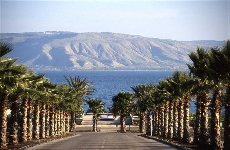 Sea of Galilee looking east to the Golan Heights, Israel