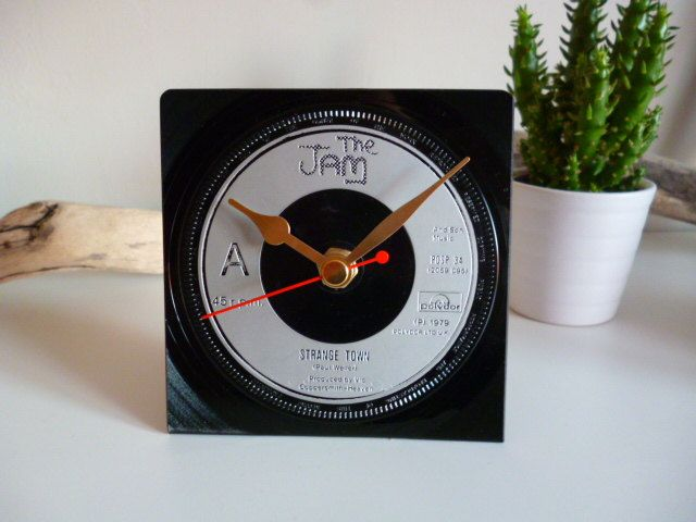 The Jam record Desk Clock 1970s Mod Music Paul Weller Vintage Vinyl Record Clock 7 inch 45 rpm Unique gift for music lovers Music room by WhenTheMusicsOver on Etsy