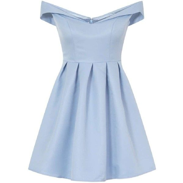 **Chi Chi London Fold-over bardot midi dress (£53) ❤ liked on Polyvore featuring dresses, vestidos, blue, pleated dresses, blue midi dress, chi chi dresses, calf length dresses and blue pleated dress