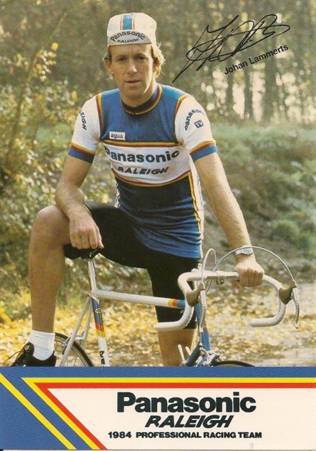 1984 Johan Lammerts.Panasonic Raleigh team postcard.