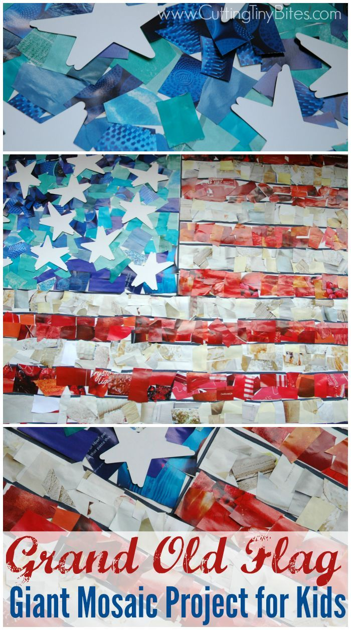 Fourth of July flag craft for kids. Giant paper mosaic art project.