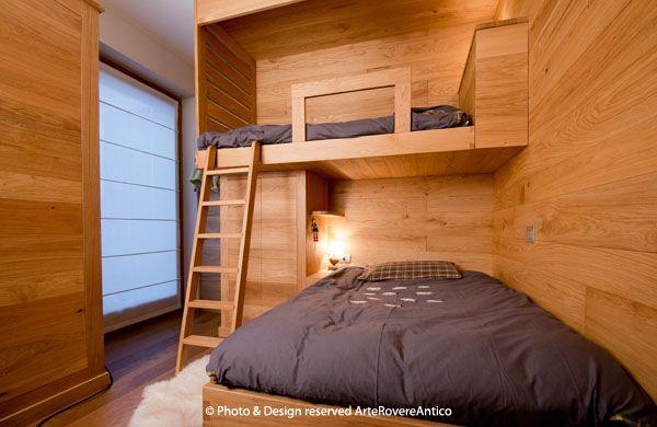 Arte Rovere Antico - Photo by Duilio Beltramone for Sgsm.it - Casa Soppalco Vetro - Sestriere Italy - Wood Interior Design - Glass - Bedroom - Mountain design