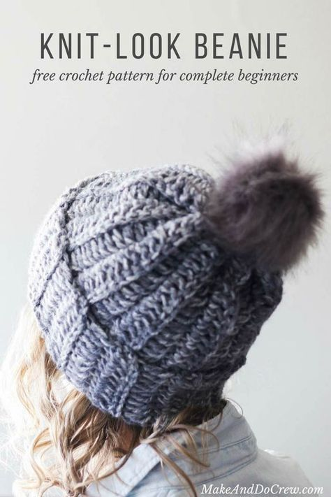 Learn how to make a crochet hat in this free beginner ribbed beanie pattern  and tutorial. This knit-looking crochet beanie is made from a simple  rectangle f885b541b9a