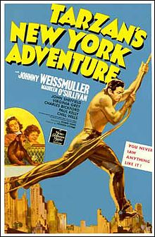 Tarzan's New York Adventure is a 1942 film, the sixth Tarzan film to feature actors Johnny Weissmuller and Maureen O'Sullivan. This film was the sixth and final film in MGM's Tarzan series and was the studio's last Tarzan film until their 1958 release, Tarzan's Fight for Life, directed by H. Bruce Humberstone and starring Gordon Scott and Eve Brent.[1] Of interest is the uncredited appearance as a circus roustabout by Elmo Lincoln who in 1918 was the first actor to star as Tarzan.